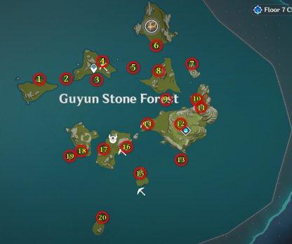 Guyun Stone Forest Meteorite Shards Locations