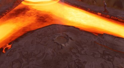 At the Largest Island in the River of Lava close up