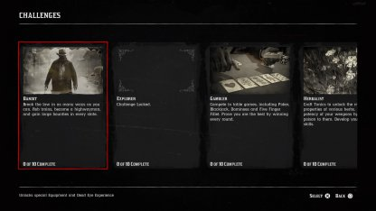 Red Dead Redemption 2 Challenges and Collectibles Challenges Tab