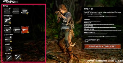 Shadow of the Tomb Raider Weapon Variety