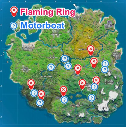 Flaming Ring and Motorboat locations