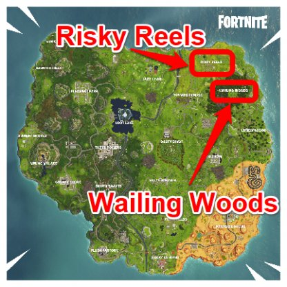 Fortnite Visit Risky Reels And Wailing Woods In A Single Match