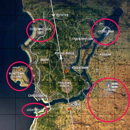 CoD: BO4 Best Spots To Land Overview Map