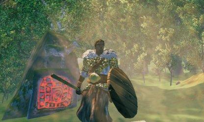 Defeat Eikthyr Boss With a Wood Shield & Flint Spear in Valheim.