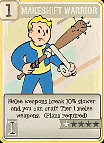 Fallout 76 Perk Card Intelligence Makeshift Warrior