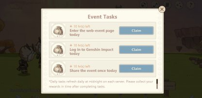 Get Materials By Completing Event Tasks