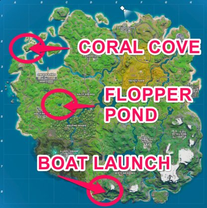 Boat Launch, Coral Cove, Flopper pond locations