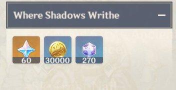 Where Shadows Writhe Rewards