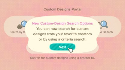 New custom design search features