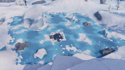 Greasy Grove Sunk In Frozen Lake