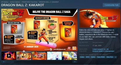 DBZ Kakarot Via Steam