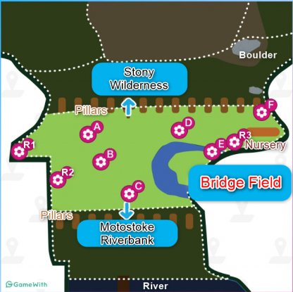 Bridge Field Map - Dens,Location & Pokemon Spawns