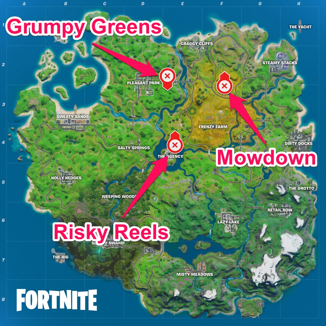 Fortnite | Visit Grumpy Greens, Mowdown, and Risky Reels ...